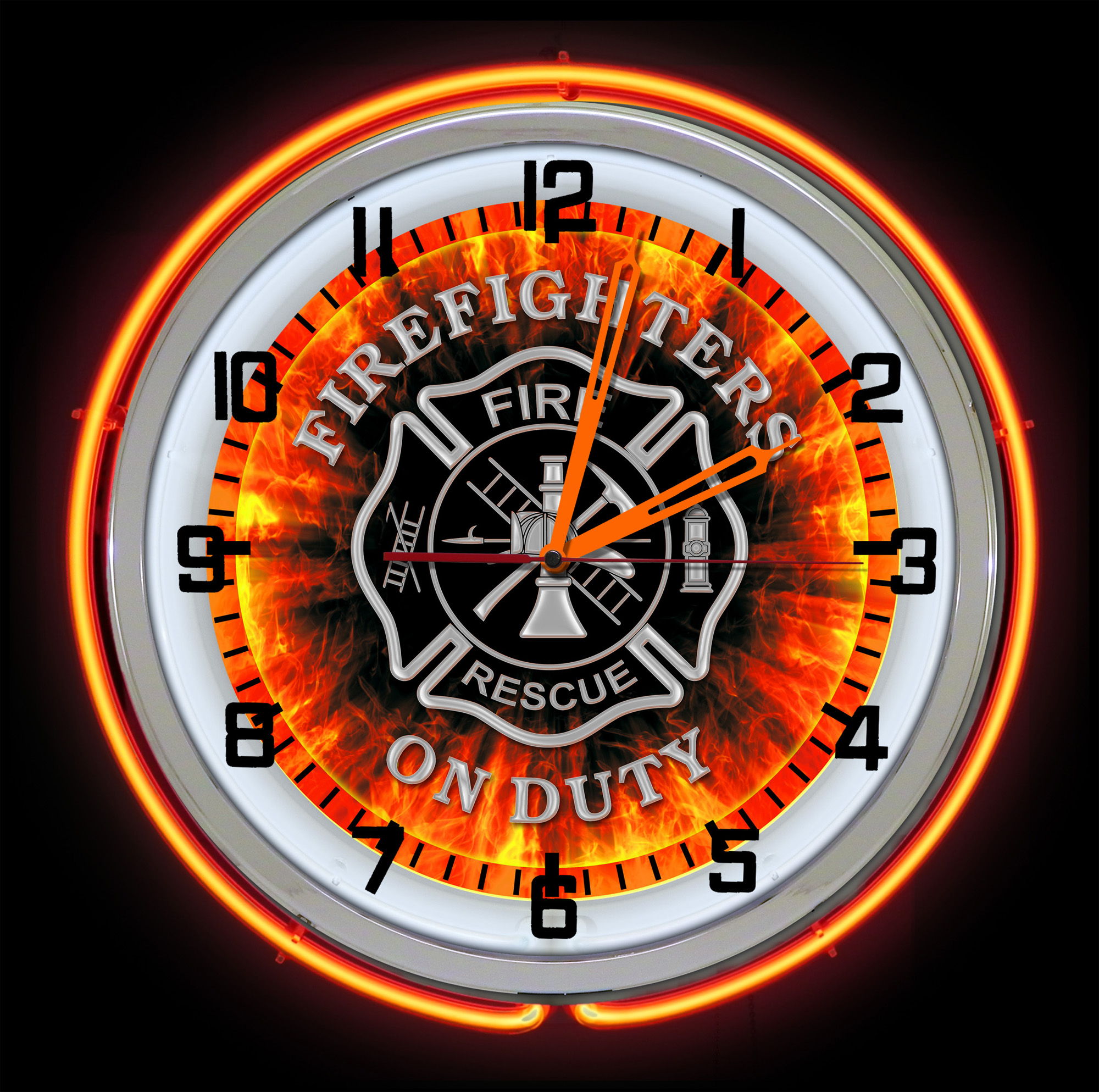 Fire Dept Neon Clock